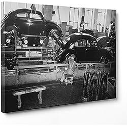 Cuadro sobre lienzo Canvas–ConKrea–Listo para colgar–Linea ensamblaje de escarabajo–VW Volkswagen Beetle