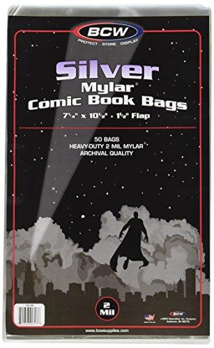 Preisvergleich Produktbild BCW Mylar Silver Comic Book Bags (50 Stück) 2-Mil