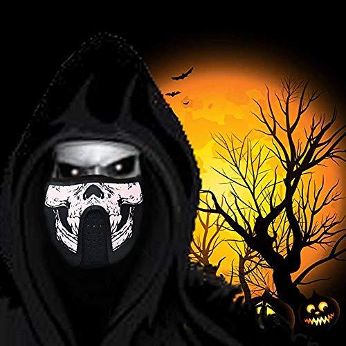 QHJ Halloween Kostüm Party Maske LED Halloween Ostern Rave Maske Leucht Kostüm Maske Osterdeko Helloween Kostüm Party (G) (Alte Kostüm Mit Kunststoff Maske)
