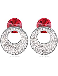 NEVI Round Swarovski Crystals Rhodium Plated Stud Earrings Jewellery for Women And Girls
