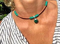 Idea Regalo - Ethnos Barcelona - *Radice smeraldo e pendente in argento. Lunghezza: 41 cm.