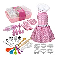 Welltobuy Complete Kids Cooking And Baking Set Includes Apron For Little Girls Chef Hat Mitt & Utensil For Toddler Dress Up Chef Costume Career Role Play
