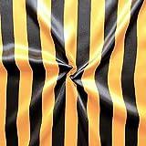 Satin Stoff Streifen Meterware Schwarz-Gelb