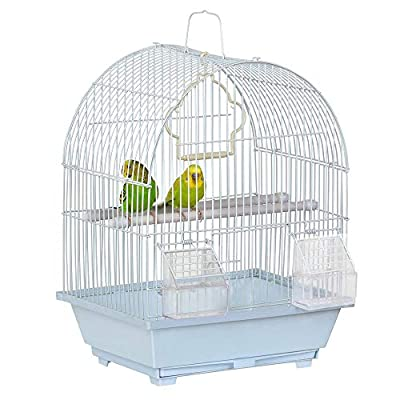 Yaheetech 15.4''H Small Bird Cage for Budgie Finch Lovebird Cockatiel Portable Small Sized Birds Travel Cage Pet Home 39CM White from Yaheetech