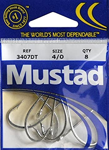 Mustad O'Shaughnessy Duratin Fishing Hook 8 Pack Size 4/0 - Forged/Ringed