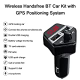#2: Microware Car Bluetooth A2DP FM Transmitter + GPS Positioning Tracker + 12V 3.1A Dual USB Car Charger + MP3 Player with APP
