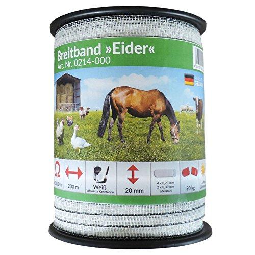 *Weidezaun Breitband Eider – 200 Meter – 20 mm weiß – Starke Qualität zum Kampfpreis*