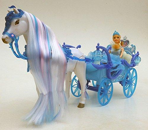 Brigamo 546 – Schneekönigin Kutsche mit Beleuchtung UND Elektrischem Pferd,voll beweglich, inkl. Sound - 2