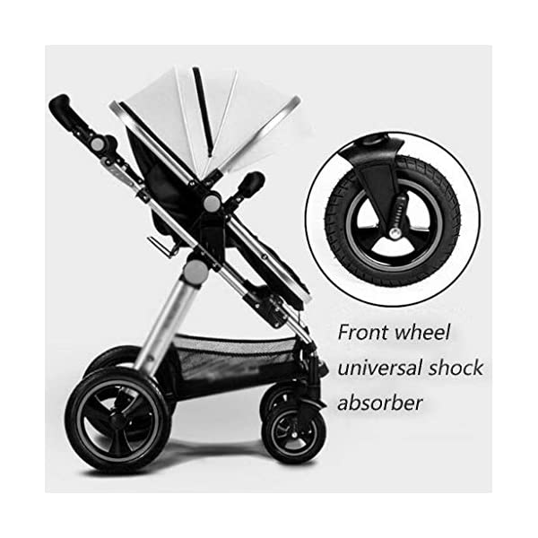 MU Comfortable Pushchairs Baby Stroller Buggy Child Foldable Kids Pushchairs Travel System Foldable with Shock Absorber Four Seasons Universal Pram,Brown   4