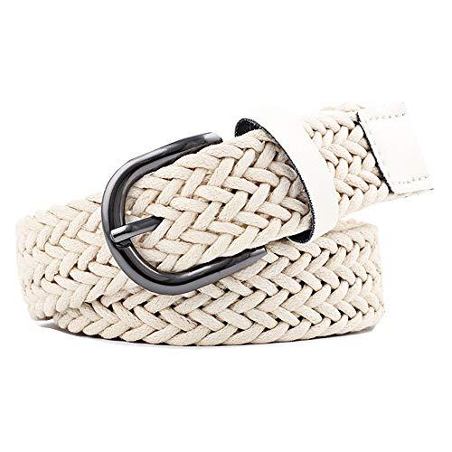 BOLAWOO-77 Damen Stretch Flechtgürtel Gürtel Vintage Geflochtener Mode Dekorativen Jeans Mode Marken Stretchgürtel Pin Schnalle Slim Taillengürtel Belt (Color : Beige, Size : One Size) -