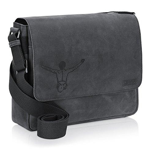 Chiemsee Valencia Vintage Borsa a tracolla pelle 30 cm scomparto tablet Nero