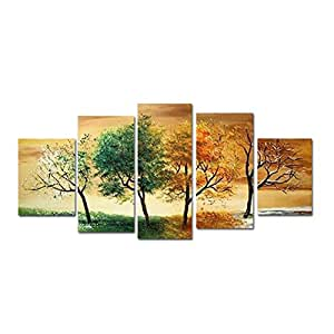 Hcozy Paysage décoratif 4Saison Arbre photos peintures à l'huile sur toile Wall Art pour He128(sans cadre)
