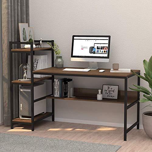 Dripex Holz Schreibtisch mit Ablage Computertisch, 120x60x111cm PC-Tisch Bürotisch Officetisch Stabile Konstruktion Tisch für Home Office (136cm Braun)