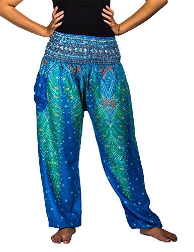 Lofbaz Damen Haremshose mit gesmoktem Buntes Pfauenmuster 1 Hellblau M