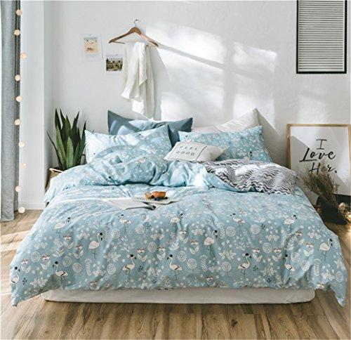 Wangjianfeng Bettwäsche Bettbezug Bettdecke Set 4 Stücke 100% Reiner Baumwolle Zeitgenössische Karikatur Bär Mit Einem Bettbezug Ein Spannbettuch Zwei Kissenbezüge, Voller Königin Bett Größe,E,Full
