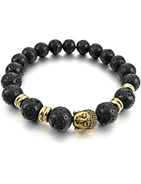 Adisaer Edelstahl Armbänder Herren Armreifen Charms Armband Schwarz Gold Energie Stein Lava Rock Buddha Mala Perlen