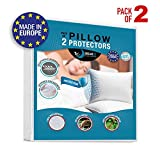Set of 2 Waterproof Pillow Protectors (50x75, 60x60, 65x65, 80x80 cm) - OEKO-TEX Std 100 - Breathable, Hypoallergenic, Anti-Dust-Mite Pillow Covers - New Generation Treatment - 10 Year Warranty
