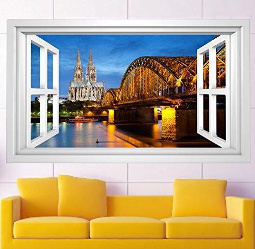 3D Wandmotiv Köln Skyline Fenster Bildfoto Wandbild Wandsticker Wandtattoo Wohnzimmer Wand Aufkleber 11E366