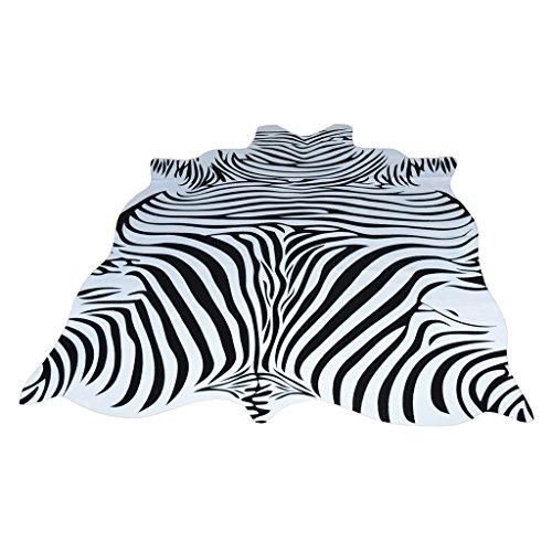 Brilliant firm Alfombras Infantiles Alfombra de Piel de Vaca Cebra Completa Nordic Animal Sala de Estar Blanca y Negra en Forma de Sala Alfombra Delgada (Color : Black, Size : 140 * 200cm)