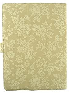 Emartbuy® 10 Inch Universal Range Beige Vintage Floral Premium PU Leather Multi Angle Executive Folio Wallet Case Cover For Lenovo Idea Tab Lynxk3011
