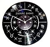 Wanduhr Vinyl Instant Karma Geschenk Vintage Hand Made–Affinität Astrologie Zeichen Tierkreiszeichen