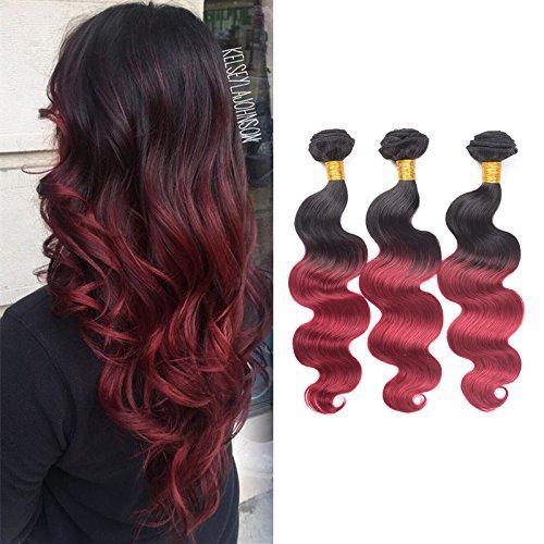 Brazilian Virgin Hair Body Wave Human Hair Hair Weave 3 Bundles Black To Burgundy 80 Bundle 14