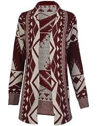 Fast Fashion - Cardigan Aztèque Tribal Imprimé Tricoté Ouvert - Femme (M = 40, Vin)