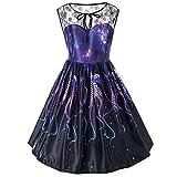 Damen Spitze Patchwork Ärmellos A-Linie Kleider Galaxy Drucken Minikleider Sternklar Abend Party Kleidung (Violett, 3XL)