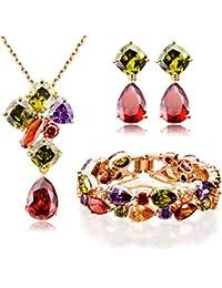 """Ostan Mujeres """"Timeless"""" Crystals y Circonio Cúbico Set de joyería (Pendant Collares y Colgantes, Pendientes, Pulsera)"""