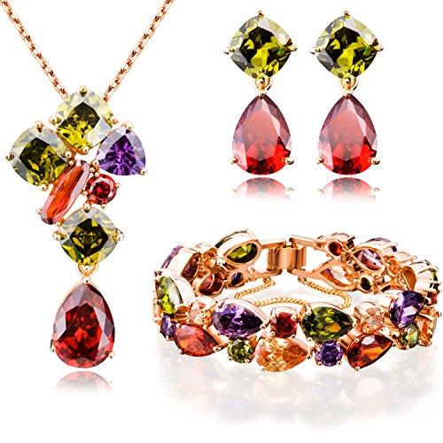"""Ostan Donna Gioielli """"Timeless"""" Cristalli Multicolore della Collana del Pendente e Orecchini e Bracciale Gioielli Set"""