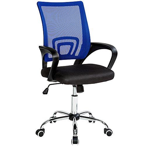 TecTake Bürostuhl Drehstuhl Schreibtischstuhl mit Lordosenstütze und Armlehnen schwarz blau