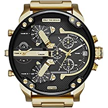 Diesel Men's 57mm Chronograph Gold Plated Stainless Steel Glass Watch dz7333