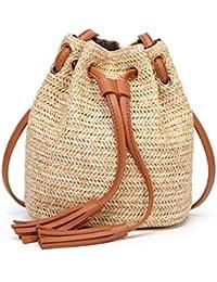 Hermosa Bolsa Bolso Bucket con cordón Hobo Crochet Straw Shoulder Bag para Mujeres Hermosa Bolsa