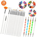 Nail Art Pinsel Set, 20pcs Nail Art Kit Dekoration Entwerfen Malerei Dotting Detaillierung Stift Tool Kit mit 3 Floral Nail Art Paletten