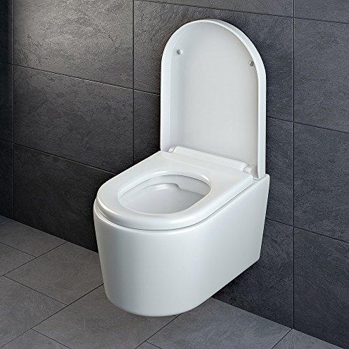 Design Wand Hänge WC ohne Spülrand Spülrandlos Toilette Sitz Softclose hängend 6 - 5