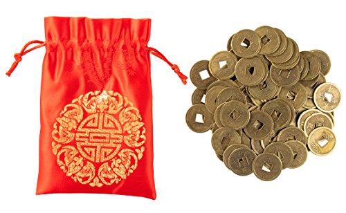 Juvale Chinesische Feng Shui Münzen mit Rot Beutel-100I-Ging-Münzen, Lucky Münzen, Traditionelle Münzen mit Rot Kordelzug Pouch- kulturellen Chinesische Geschenke, 2,5x 0,3x 2,5cm -