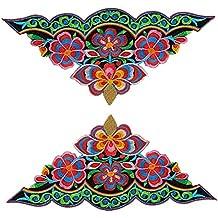 (Pack of 2) triángulo flores jardines bordado Appliques coser hierro en parches