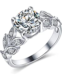 Youbella Silver Plated Solitaire Crystal Ring For Women And Girls