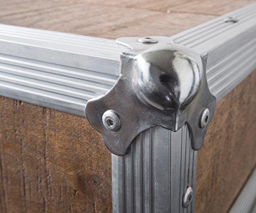 Fernsehtisch Braddock Mango Natur 200 cm Metall Lowboard 2 Türen - 8