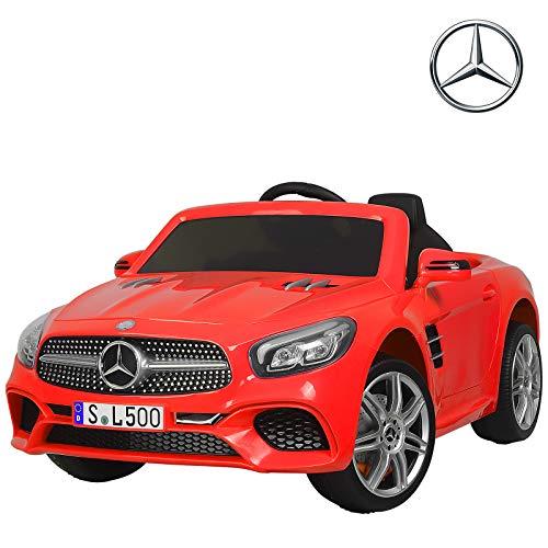 UEnjoy Kinderauto Mercedes-Benz Kinderfahrzeug Elektro Spielzeug 12V Lizenziert SL500 AMG Roadster Kinder Fahrt-on Auto Electric w/Fernbedienung 3 Geschwindigkeiten LED-Leuchten,Rot