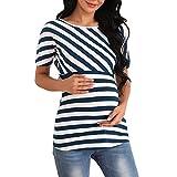 Giorzio Femme Top Maternité Allaitement, Rayé Sweat T-Shirt Les Soins Infirmiers Enceintes(Bleu,Medium)