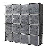 PrimeMatik - Armario organizador modular Estanterías de 16 cubos de 35x35cm plástico negro con puertas y...
