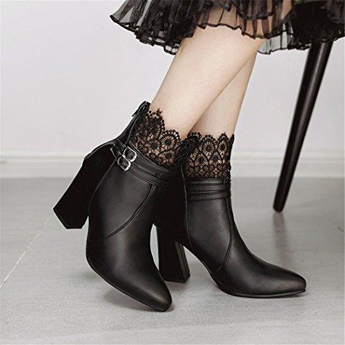 Zq @ Qx Consejo De La Semana Para El Áspero Como El Encaje Y Versátil Con Zapatos Y Botas Con Cremallera Trasera De Tacón Alto Botas Femeninas Negro