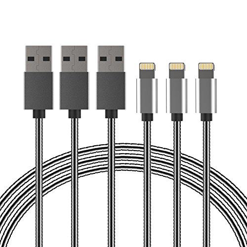 Preisvergleich Produktbild Vsllcau Lightning Kabel 1m Metall [3 Pack] für iPhone 7 / 7plus, 6 / 6S / 6 Plus / 5/5 C / 5S, iPad 4 Mini Air, iPod Nano 7, iPod Touch 5 und so weiter Schwarz