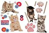 Unbekannt XL Set: Wandtattoo / Sticker - Kätzchen Katzen mit Pfoten - Postersticker - Wandsticker Aufkleber Poster Tiere Tier
