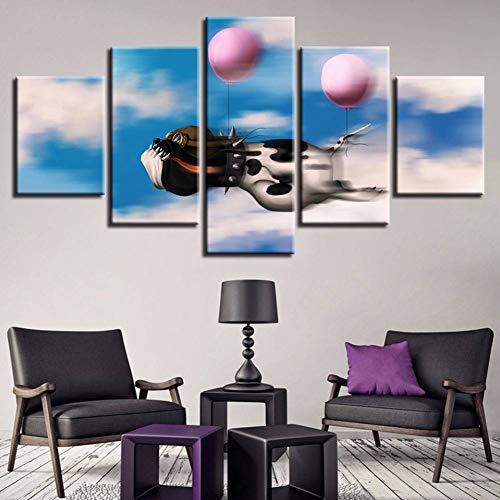 KJDSUIHG Rahmenlose Hd Drucke Poster Modulare Wohnzimmer Leinwandbilder 5 Stücke Tier Hund Ballon Gemälde Home Wandkunst Dekor