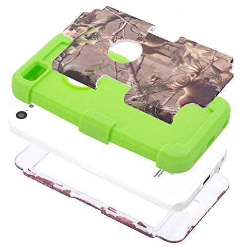 iPhone 5C Coque , SHANGRUN Armor Heavy Duty Series Dual Layer Full-body Flexible Rubber And Hard PC 3 In 1 Hybrid Protecteur Arrière Ceinture Holster Etui Housse Cover Case pour Apple iPhone 5C avec s Gris+Vert