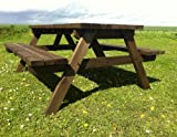 PUB STYLE PICNIC TABLE BENCH - 6FT - HEAVY DUTY - HAND MADE - RUSTIC BROWN - PRESSURE TREATED!!
