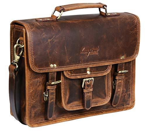 Braun Leder Messenger Geschäft Tasche Schulranzen Aktentasche für Laptop -