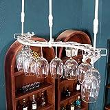 Hängendes angebrachtes Metallwein-Gestell, europäisches Eisen-Weinglas-hängendes Regal u. Becher-Regal für Küche / Bar / Restaurant ( Farbe : Weiß , größe : 82cm )